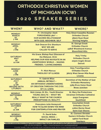 ORTHODOX CHRISTIAN WOMEN 2020 SPEAKERS SERIES